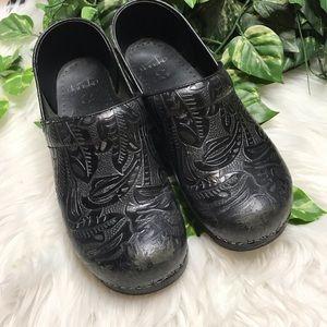 Dansko Black Tooled Clog Nursing Shoes